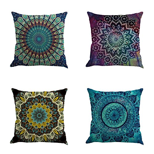 - Ussuperstar 4 Pack Boho Hippy Mandala Gypsy Pillow Cover Psychedelic Elephant Tree of Life Cushion Cover Throw Floral Printed Pillow Case 18 X 18 Inch Pillowcase Multicolor (Boho 03)