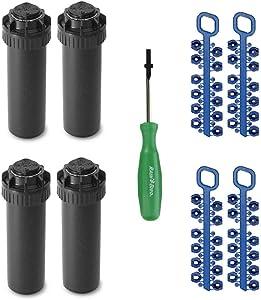 Rain-bird 5000 Series Rotor Sprinkler Head - 5004 PC Model, Adjustable 40-360 Degree Part-Circle, 4 Inch Pop-Up Lawn Sprayer Irrigation System - 25 to 50 Feet Water Spray Distance (Y54007) (4 Pack)