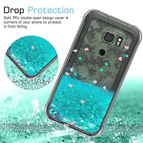 fd292ce67cc Galaxy S7 Active Glitter Case with Tempered Glass Screen Protector [2 Pack]  for Girls Women,LeYi Bling Shiny Moving Quicksand Liquid Clear TPU  Protective ...