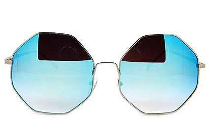 Amazon.com: Ice Blue - Gafas de sol con espejo grande para ...