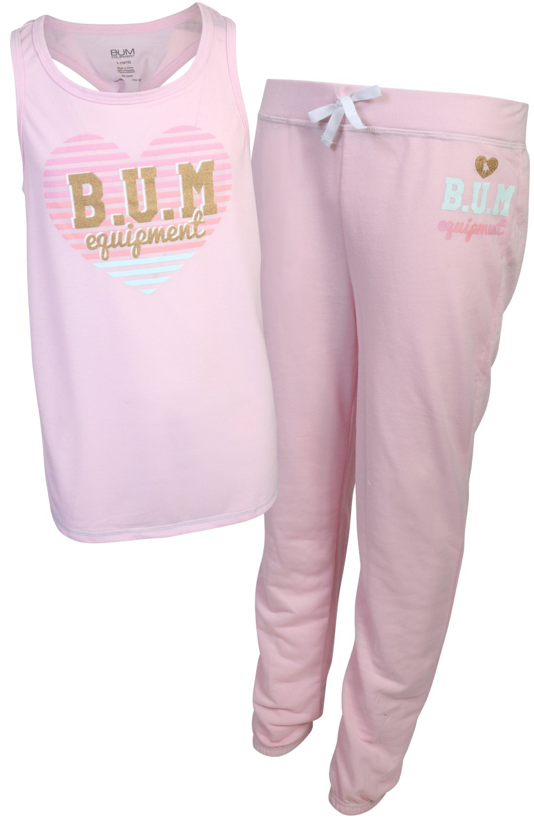 B.U.M. Equipment Girl's 2-Piece French Terry Jogger Sweatpant Pajama Set, Light Pink, X-Large/14-16'