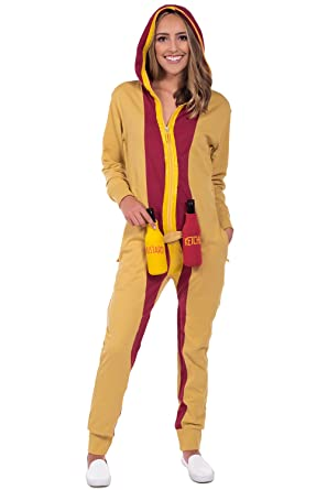 Women s Hot Dog Halloween Costume - Hot Dog Jumpsuit Onesie  Small Brown c5353594e