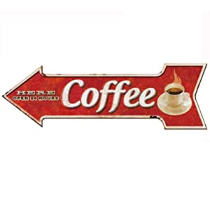 HANTAJANSS Metal Signs Arrow Coffee Signs for Wall Decoration