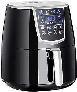 Air fryer 4.5 qt electric 1350w digital timer tempe control 8 presets oil less