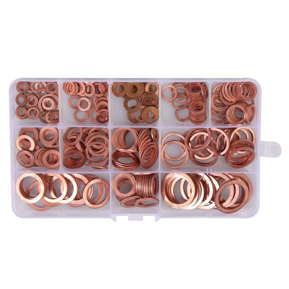 Tanice Copper Washer 300PCS 12 Sizes Copper Metric Sealing Washers Flat Washers Assortment Kit with Box M5 M6 M8 M10 M12 M14 M16 M20