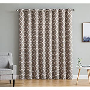 "HLC.ME Lattice Print Thermal Grommet Blackout Patio Door Window Curtain for Sliding Glass Door - Taupe - 100"" W x 84"" L - 1 Panel"