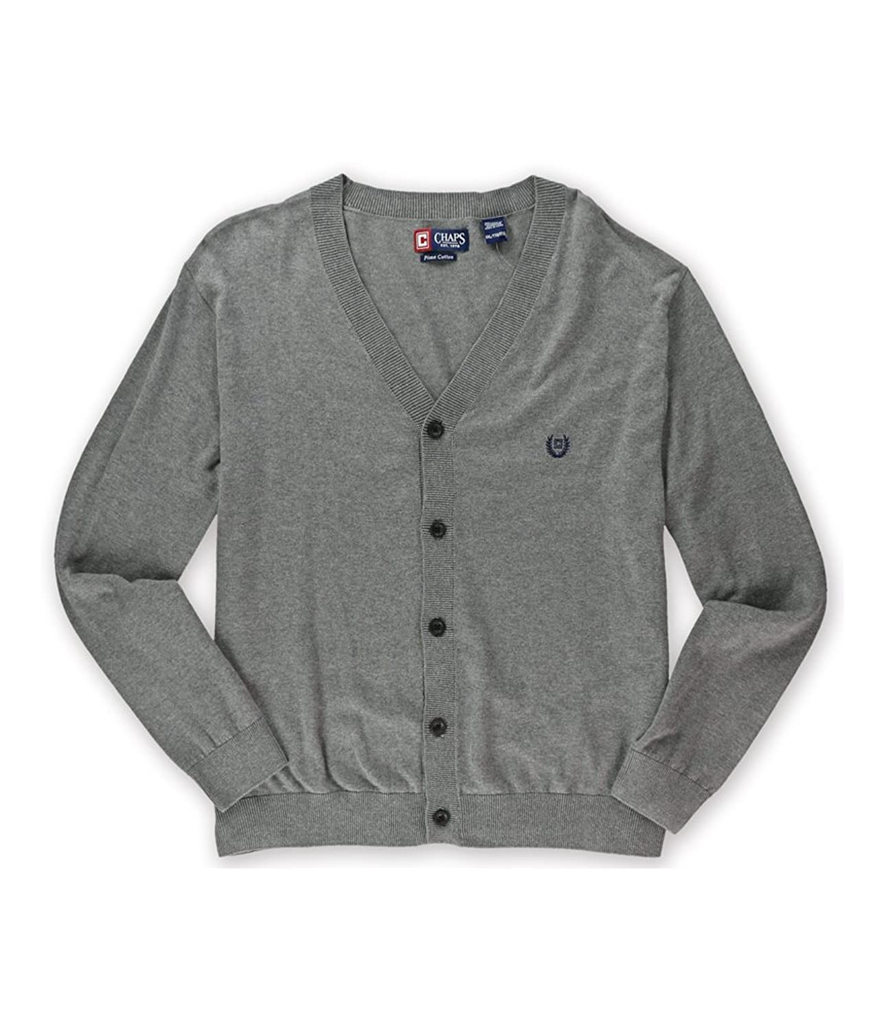 Chaps Mens Pima Cotton Logo Cardigan Sweater