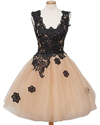 Gorgeous Bride Mini Ball Gown V-neck Lace Prom Cocktail Graduation Dresses- UK Size