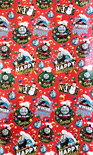 Thomas The Tank Engine Christmas Holiday Gift Wrap - One Roll of Wrapping Paper - 20 Square Feet ()