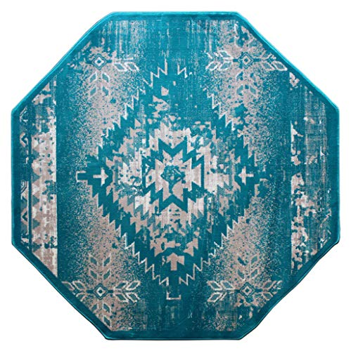 Bellagio Southwest Native American Octagon Area Rug Design 357 Distressed Turquoise (5 Feet 3 Inch x 5 Feet 3 Inch) Octagon
