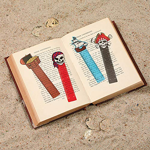 "FX ~ 12 ~ Pirate Ruler Bookmarks ~ Approx. 5"" Long ~ Flexible Plastic ~ New ~ Treasure Chest, Skull & Crossbones, Pirate Ship, Party Favors"
