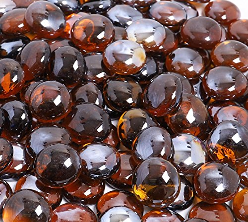 KIBOW 10-Pound Pack Fire Glass Beads Fire Glass Drops for Gas Fire Pit, 3/4 Inch-Copper (Stone Pit Propane Fire)