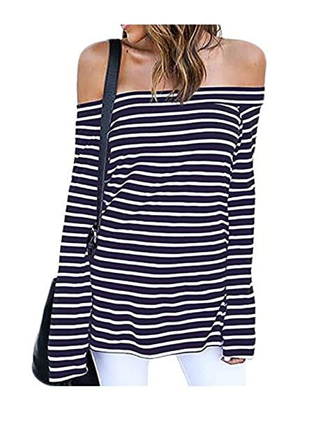 4640615aa7b8d3 Women s Fashion Off Shoulder Tops Long Sleeve Blouses Causal T-Shirts (XXL