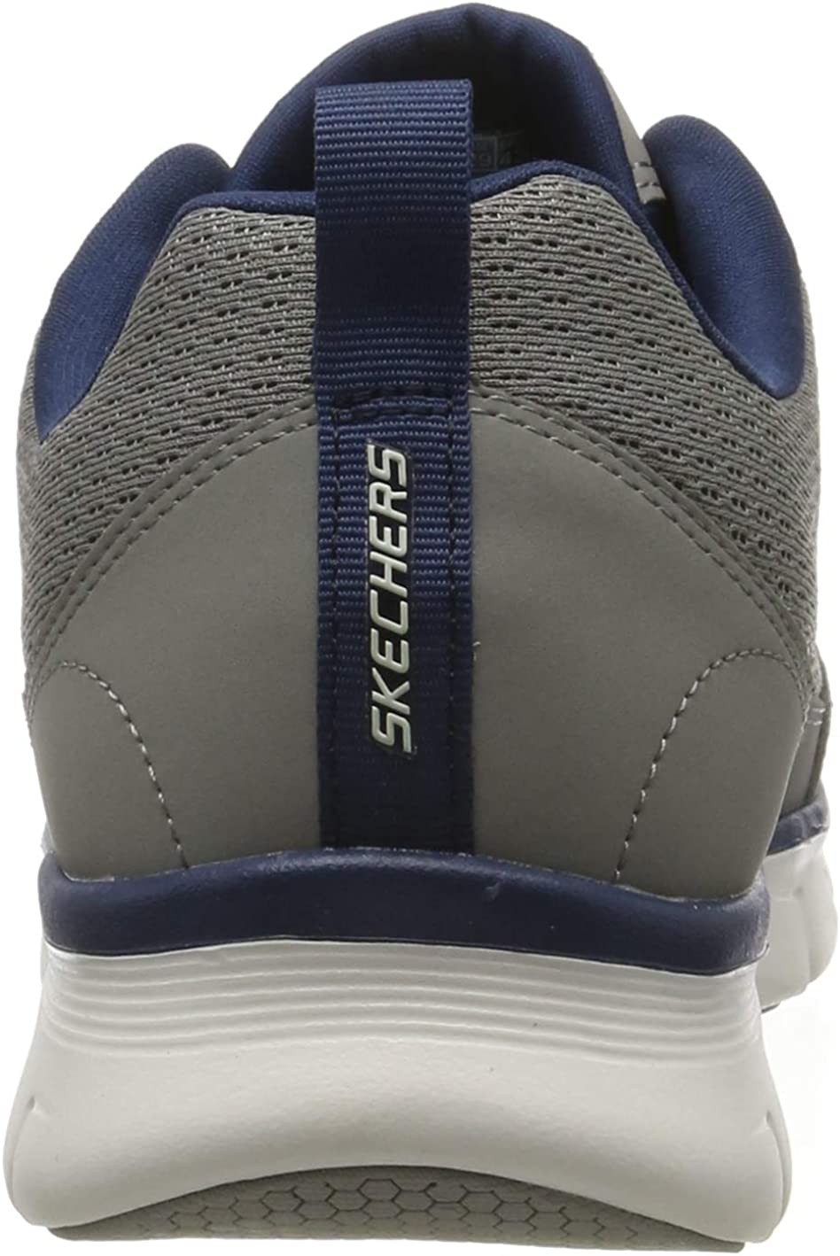 Skechers Men's Synergy 3.0 Trainers Grey Gray Leather Mesh Pu Navy Trim Gy Nv