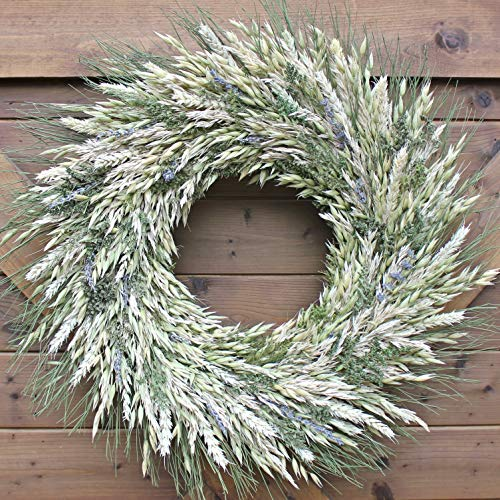 Handmade Natural Harvest Style Lavender Blend Wreath | Dried Foliage Arrangement | Preserved Floral Home Accent | All Season Decorative Wreath
