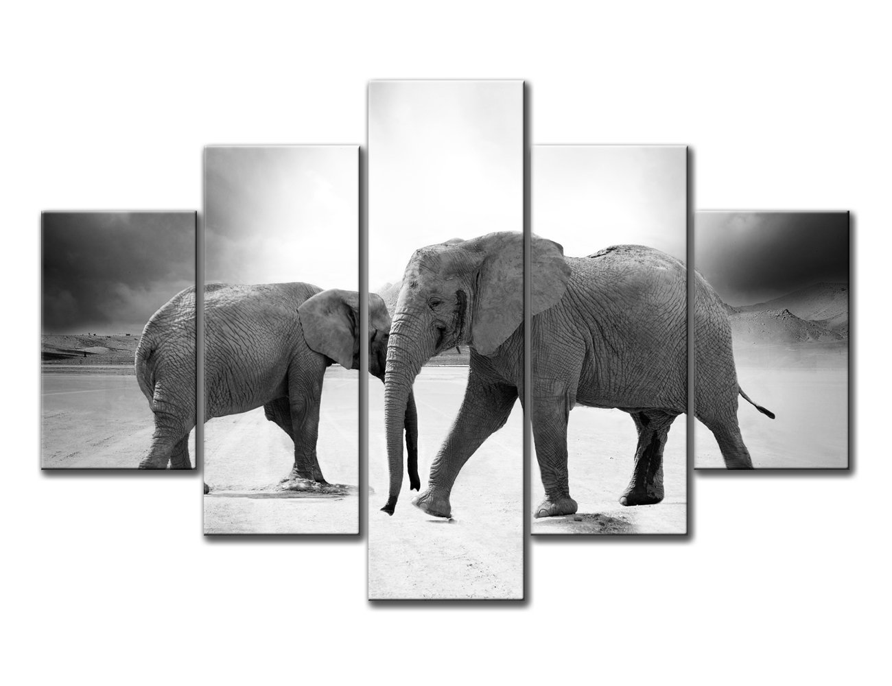 Hd black african two elephant head wood portrait wall art painting the picture print on canvas wildlife animal pictures 5 piece wall art for home decor