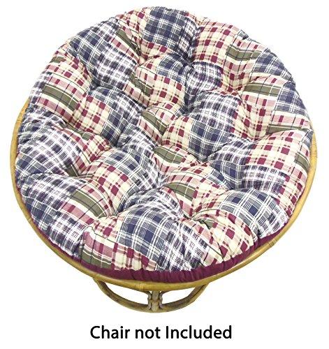 Cotton Craft Papasan Chair Cushion  - Madras Plaid Blue Gree