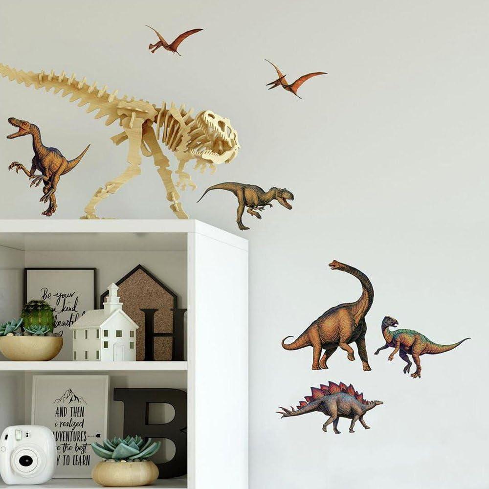 StickerDeen Lot de 65 stickers muraux en vinyle Motif dinosaures argent