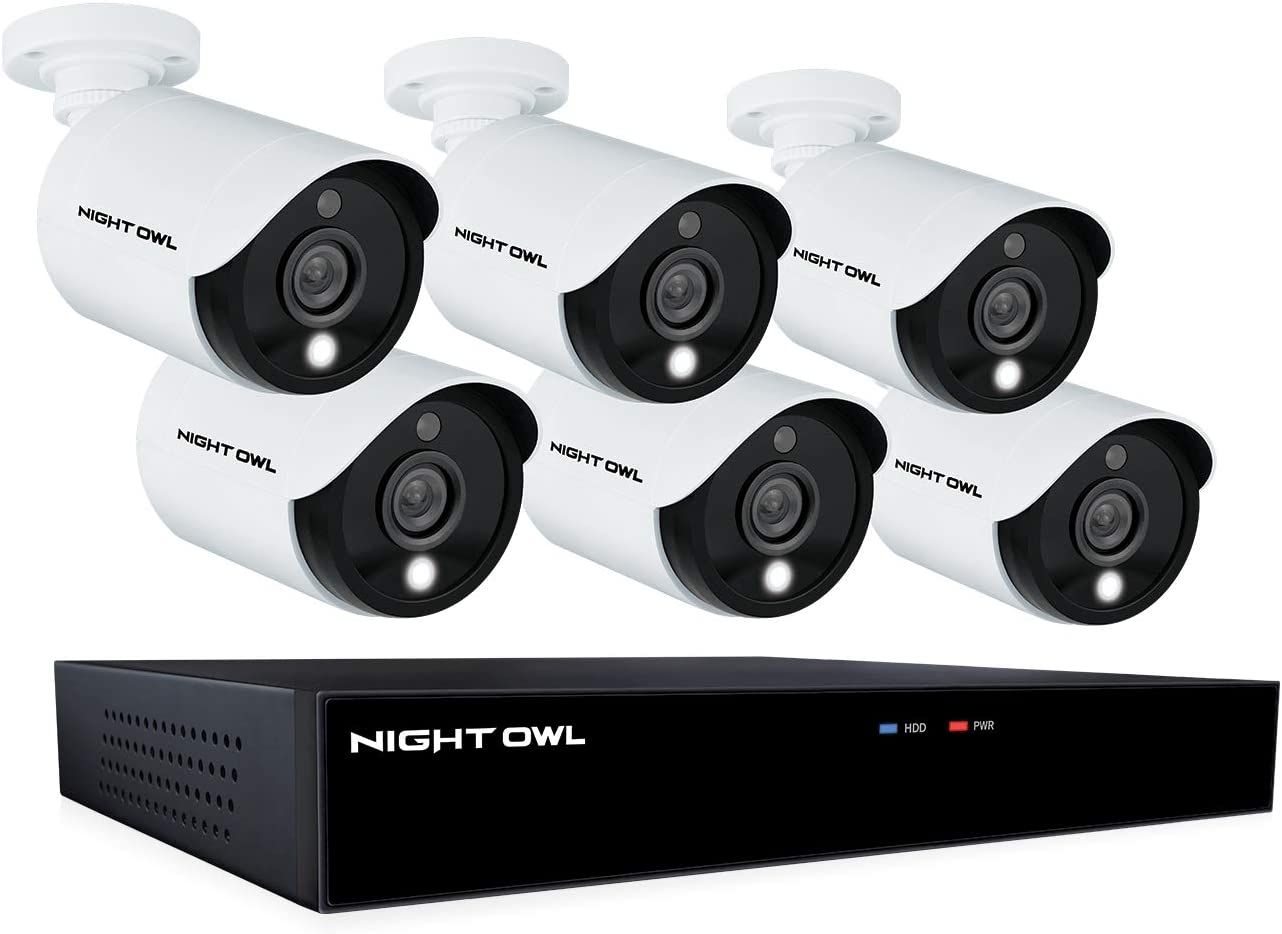 Night Owl CCTV Video Home Security Camera System with 6 Wired 5MP HD Indoor/Outdoor Cameras with Night Vision (Expandable up to a Total of 8 Wired Cameras) and 1TB Hard Drive