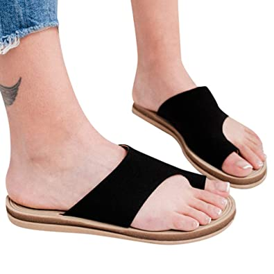 2d2257e186 Sturrly Women's Summer Flat Wedge Sandal, Ring Toe Casual Slippers  Comfortable PU Leather Slip On