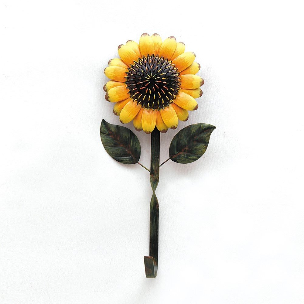 YK Decor Decorative Metal Sunflower Hook for Hanging Coat Hey Hat in Entryway Kitchen Office Garage Gift
