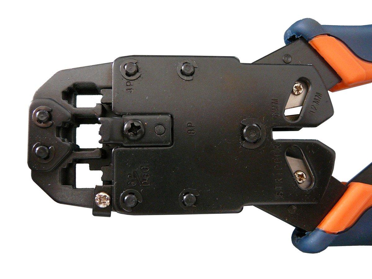 Pinza per crimpare schede RJ45 // 8P8C RJ09 // 4P4C KALEA INFORMATIQUE completa di rack RJ12 // 6P6C RJ11 // 6P4C