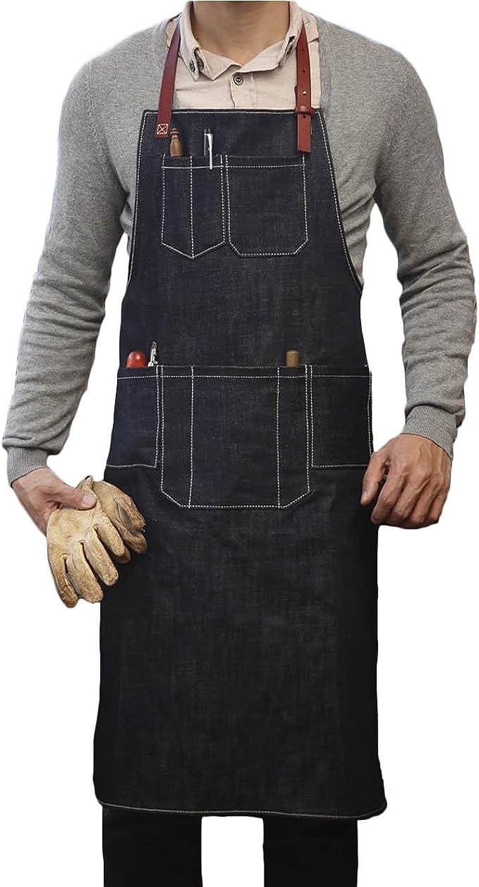 Correa De Cuero Unisex Denim Bib Delantal Cocina Chef Barista Shop uniforme de trabajo