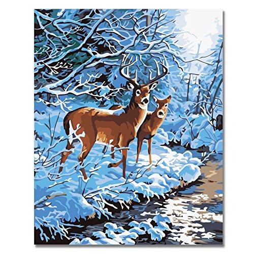 Rihe Winter Paint by number DIY Oil Painting-Creek Side Deer 16x20inch - Deer Paint
