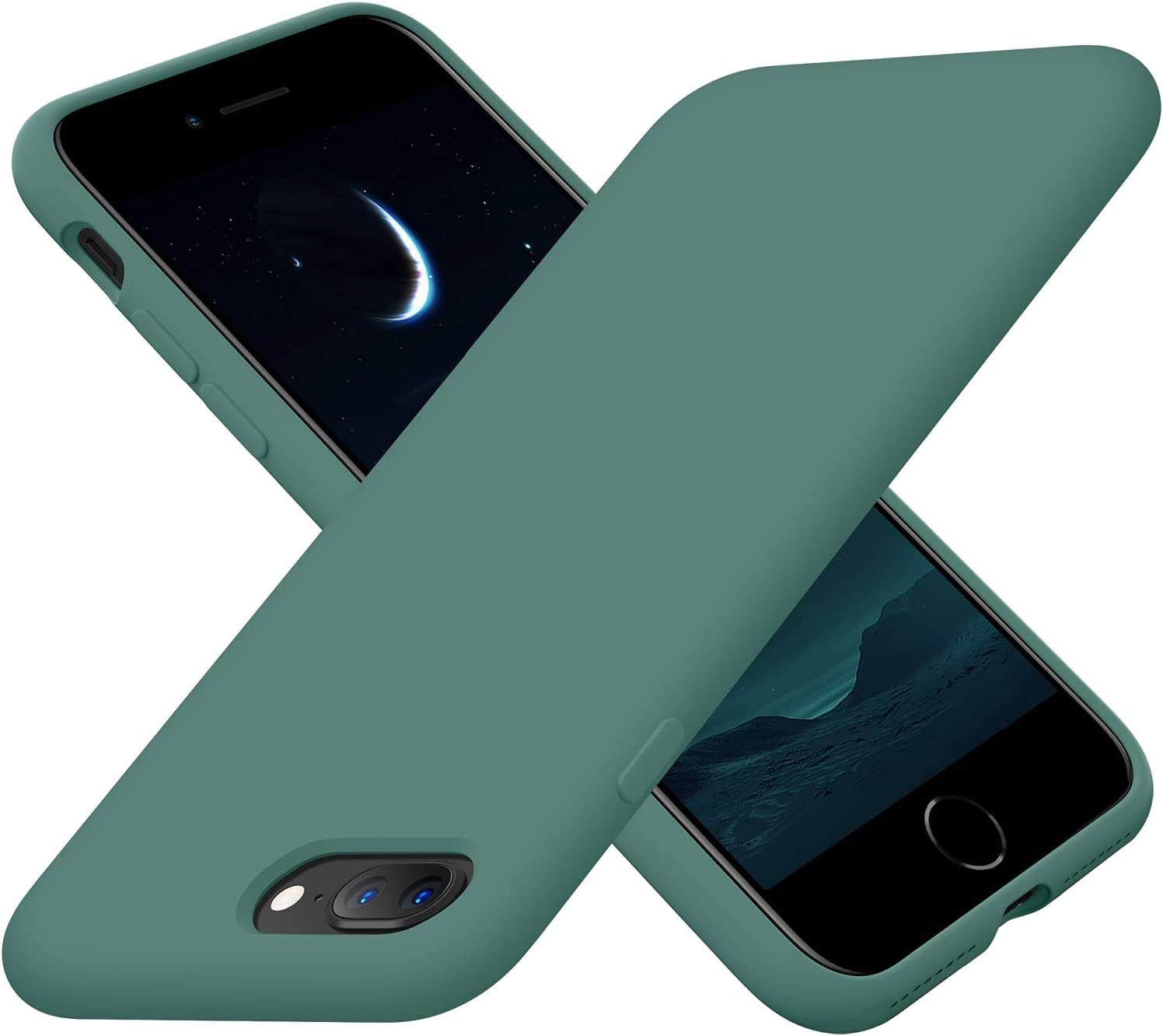 Cordking iPhone 8 Plus Case, iPhone 7 Plus Case, Silicone Ultra Slim Shockproof Phone Case with [Soft Anti-Scratch Microfiber Lining], 5.5 inch, Midnight Green