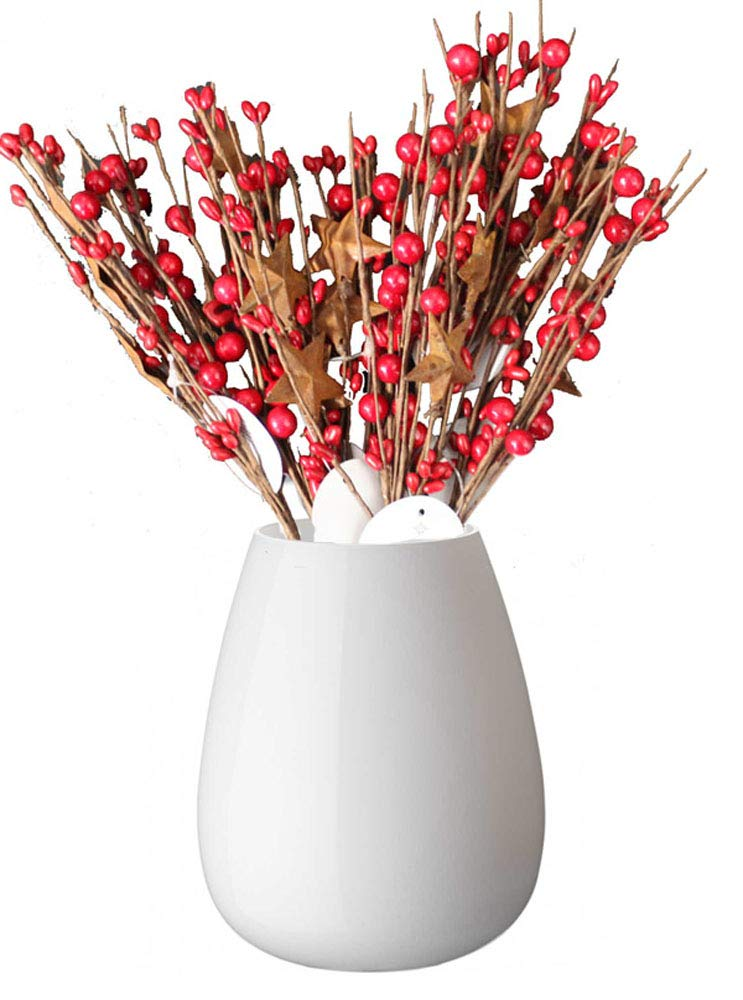 Floral Picks Country Primitive Home Decor Red Holly Berry Metal Star Set Of 6 9inch Twigs Mini Artificial Plant Stems Fake Winter Christmas Berries For Diy Garland And Holiday Wreath Ornaments