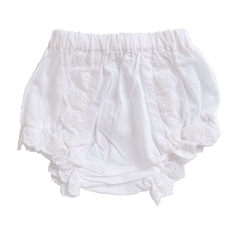 Carriage Boutique Baby Girls Cotton Panty Diaper Covers - Ruffled White Flowers