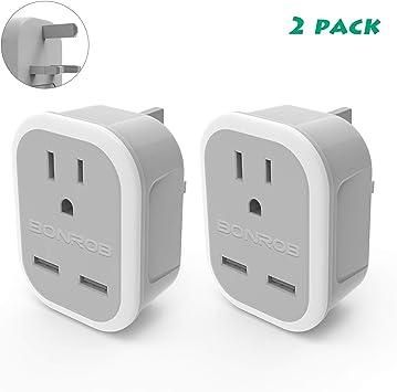 Bonrob UK Adaptador de enchufe de alimentación 2 unidades, tipo G adaptador de salida de alimentación de viaje con 2 USB, para Estados Unidos a Londres, Irlanda, Escocia, Inglaterra, Hong Kong, etc.: