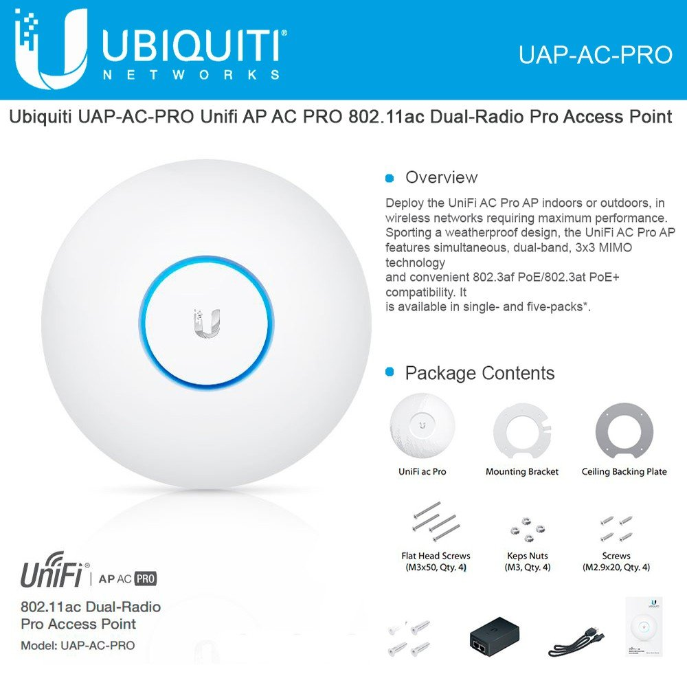 Ubiquiti UniFi UAP AC PRO 2.4GHz/5GHz, 802.11 a/b/g/n/ac, 2xGbE, support PoE+