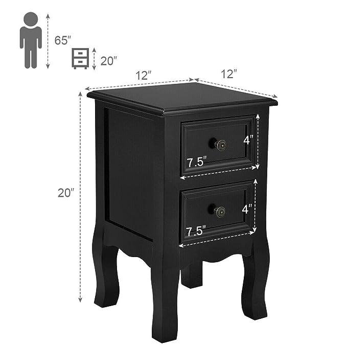 Amazon.com: 2 mesitas de noche negras para dormitorios con 2 ...