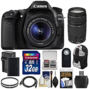 Canon EOS 80D Wi-Fi Digital SLR Camera & EF-S 18-55mm IS STM with 75-300mm III Lens + 32GB Card + Battery & Charger + Backpack + Tripod + Kit