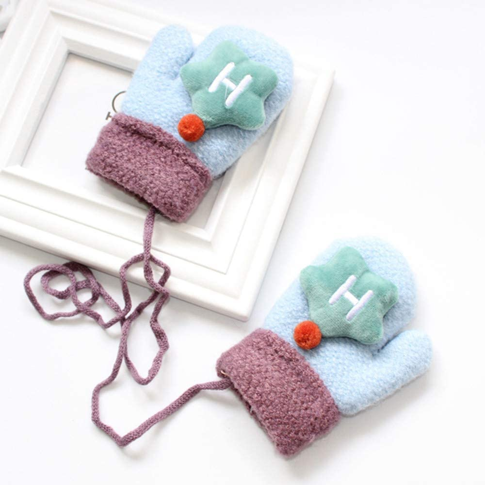 Baby Girls Boys Knit Gloves Mittens Fingerless Warm Lined Mittens Winter Hand Warmer Star Decor for Children Baby Gifts