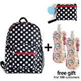 Cheap Foldable Backpack Light Weight and Durable, Black & White Polka Dots