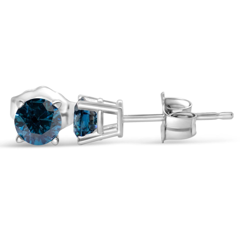 1 2cttw Blue Diamond Round Stud Earrings 14k in White Gold