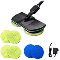 Cordless Electric Rotary Mop, Rrechargeable Electric Floor Cleaner Scrubber Polishing Machine Mop, Hand-held Vacuum Floor and Carpet Polisher Mop (6Pcs pad, 4Pcs Yellow pad 2 Piece Blue pad)
