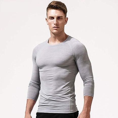 ASGYKM Camiseta de manga larga y cuello alto transpirable, Camisa con cuello redondo y corte slim para hombres, de corte suave y elástico, Camiseta de compresión de secado rápido para deportes, Secció: