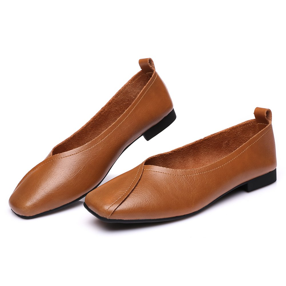 Womens Square Toe Comfort Driver Flat Slip-on Loafer Oxfords Leather Casual Shoe