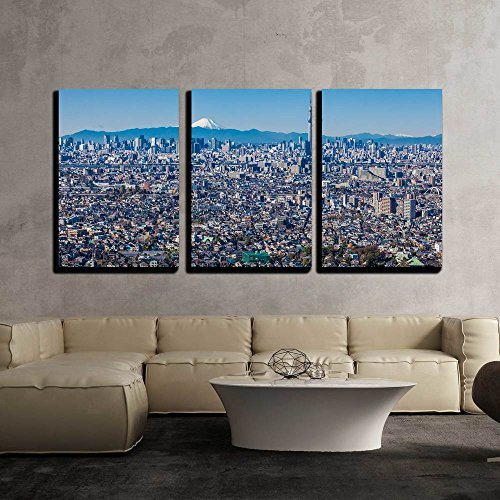wall26 - 3 Piece Canvas Wall Art - Tokyo City View with Tokyo Sky Tree and Mountain Fuji - Modern Home Decor Stretched and Framed Ready to Hang - 16