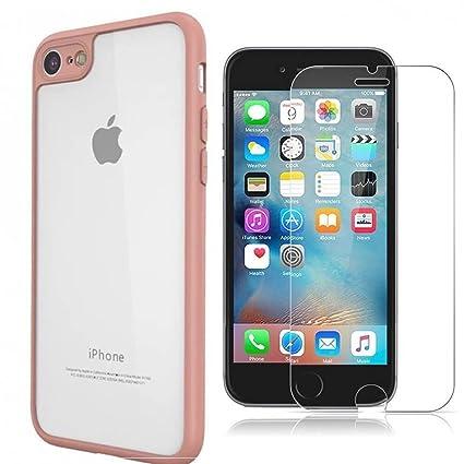 FinestBazaar Carcasa Protectora para iPhone de Silicona TPU con Parte Trasera rígida Transparente para Apple iPhone con Protector de Pantalla de ...