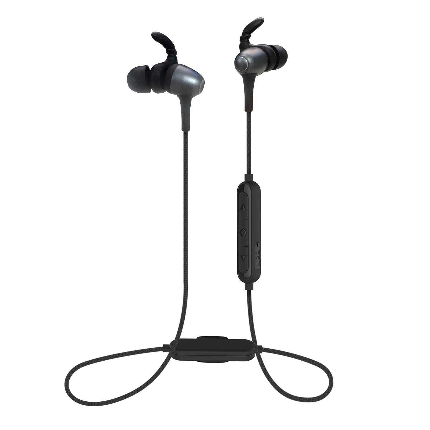 Bluetooth Headphones with Cloth Clip, Wireless Stereo Noise Cancelling in-Ear Earbuds and Sweat-Proof Built-in Mic Bluetooth Magnetic Headset 7 Hours Playtime Secure Music Earphones