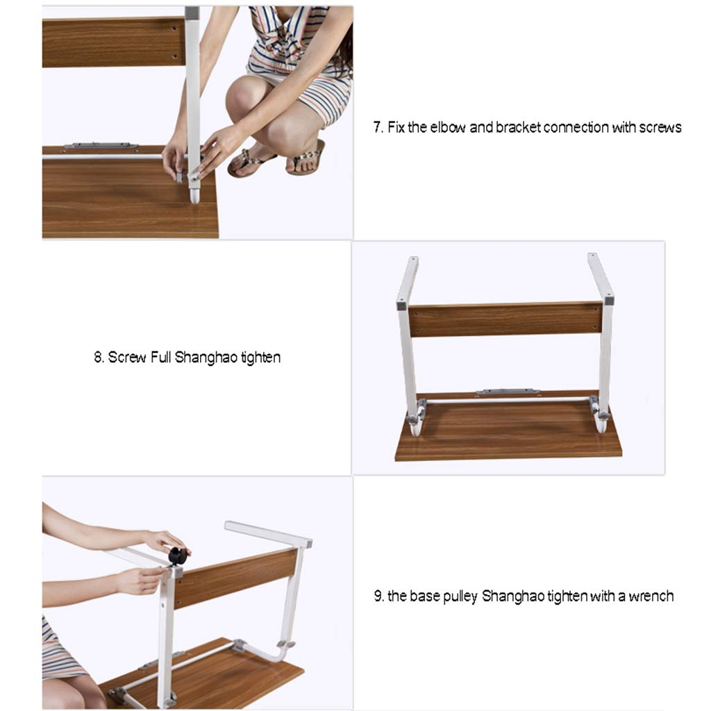 Desk Mobile Computer, Modern Minimalist Folding Table - Home Learning Writing Adjustable Height by Desk (Image #8)