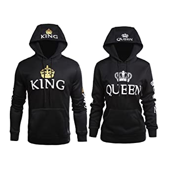 676454dd6a YJQ King and Queen Matching Couple His and Her Pullover Hoodies Set Black  Men 2XL +