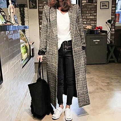 Xuanku Otoño Mode Plaid Lana Tweed Abrigo Invierno Slim Slim Modelos houjian Tipo MAX Mara Woolen