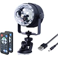 WOWTOU Mini Disco Lights Crystal Magic Ball with Remote Control, Sound Activated Strobe Effect and RGB LED Stage Light Show for Party Dance Floor Night Club Car DJ Lighting, USB Powered (Black)
