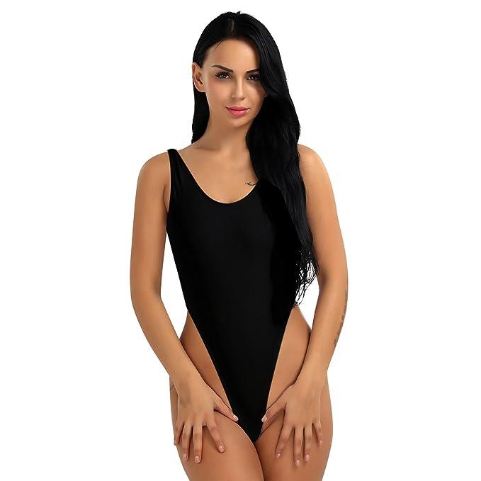 b4f970dc72 Freebily Women One Piece Bodysuit High Cut Swimsuit Thong Gymnastics  Bodysuit Leotard Bikini Black One Size
