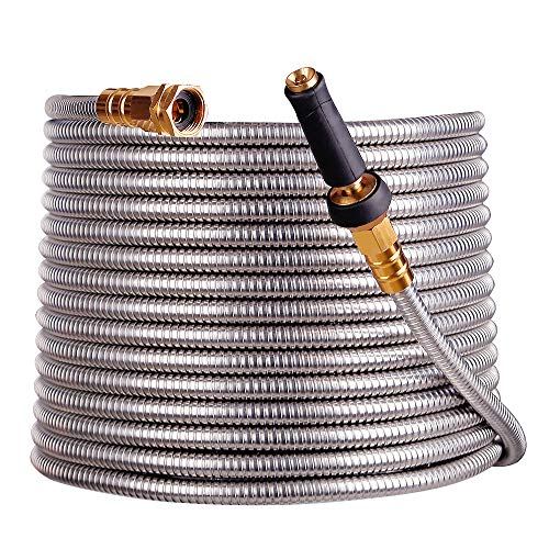 scriptract 75'304 Stainless Steel Garden Hose with Free Removable Brass Nozzle Lightweight Metal Hose - Portable Durable and Resistant to Knots, Tangles and Punctures (75)